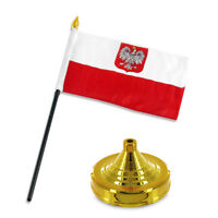 "Polish Poland Eagle 4""x6"" Flag Desk Set Table Stick Gold Base"
