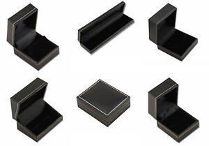 Jet Leatherette Boxes-Black with Silver Trim-Ring Earring Pendant Watch Necklace