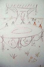Dali Original Etching Hand Signed Numbered La Quete du Graal Lancelot Table 1975