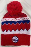 NBA 76ers Vintage Adidas Cuffed Pom Winter Knit Hat Cap Beanie Style #119208