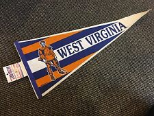 1980'S West Virginia Mountaineers Full Size Trench Pennant Mint With Tags