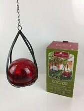 Garden Oasis Led Lighted Hanging Gazing Ball with Timer Red Crackled Glass