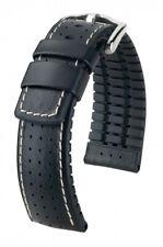 HIRSCH Uhrenarmband Tiger Leder Kautschuk Kern Schwarz 21 mm Stegbreite