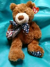 "TY 13"" Beanie Classic Brown Bear (Flags)1st Prize Stars and Stripes"