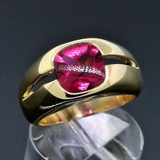 Tiffany&Co. Jewelry 18K Yellow Gold Pink Tourmaline Ring Size 5.5 W/Receipt