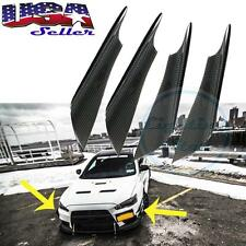 4x Real Carbon Fiber Universal Car Body Front Bumper Canards Splitters Sport Fin
