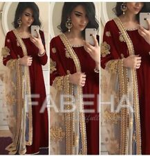 velvet anarkali kameez Indian salwar stone embroidery net dupatta long gown suit