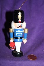 Vintage wood Christmas ornament Soldier in blue with drum