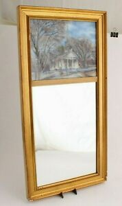 Vintage Reverse Painting Through the Looking Glass Eglomise Mirror Gilt Frame