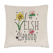 Estoy galeses y orgullosa Lino Cubierta para Cojín-almohada Gracioso Gales Bandera