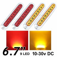 """2X Red + 2X Amber 6.7"""" 9 SMD LED Side Marker Tail Light Clearance Truck Trailer"""