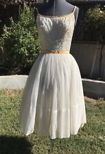 VINTAGE 1950s GLAMOROUS TULLE & SEQUIN PARTY DRESS W/ PEACH BOWS XS/S TEA PARTY