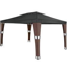 Gazebo da giardino in rattan tendone polyrattan party tenda padiglione 3,9x3m ma