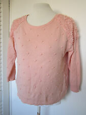 Ladies Peach Flower Pom Pom Embellished Knitted jumper Size 12 Top Blouse