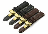 Genuine Leather Strap Alligator Grain Watch Band With Butterfly Clasp 16mm-24mm