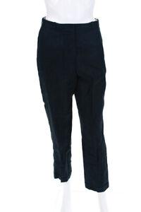 Hermes Womens Slim Straight High Waist Cuffed Pants Blue Linen Size FR 38