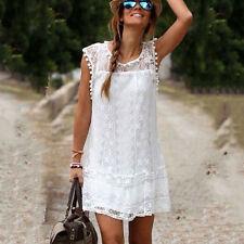 Fashion Women Celeb Summer Boho Beach Sundress Lace Sleeveless Tassel Mini Dress White L