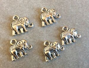Antique Silver Charms, Elephant Charms 5pcs, 12x14mm, Jewellery Making, Crafts