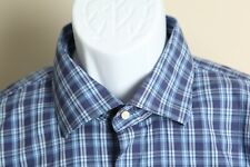 Peter Millar Men's blue and white plaid long sleeve performance shirt XL EUC