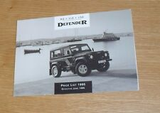Land Rover Defender Price List June 1995 - 90 110 130 County Station Wagon