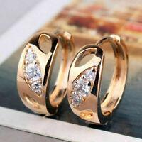 Hoop/Huggie Earrings 0.30Ct Round Cut D/VVS1 Diamond Solid 18K Rose Gold Finish