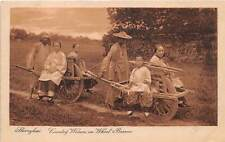 SHANGHAI, CHINA, WOMEN & CHILD TRAVELING ON WHEELBARROWS MURAKAMI PUB c. 1904-14