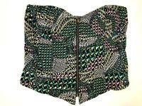 Red Camel women's crop top bustier style size XL green pattern zip front