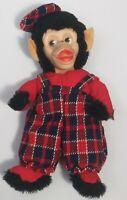 "Vintage Gund Rubber Face Monkey Chimp 12"" Plaid Hat Made in Haiti Plush"