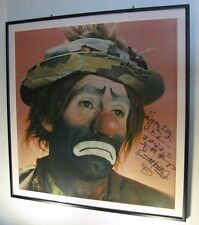 """RARE 1968 EMMETT KELLY JR 32""""x32"""" FRAMED AND MATTED SIGNED AUTOGRAPHED PICTURE"""
