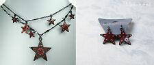PILGRIM Multi Strand Necklace & Earrings STAR Charm Black Red Swarovski BNWT