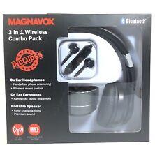 Magnavox 3 in 1 Wireless Combo Pack Bluetooth Headphones Portable Speaker