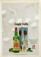 1976 J&B Scotch Holiday PRINT AD Jingle Bells Gift Box
