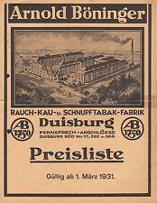 DUISBURG, Preisliste 1931, Arnold Böninger Rauch-Kau-Schnupf-Tabak-Fabrik