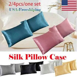 Soft Mulberry Satin Silk Pillowcase Pillow Cases Home Cushion Covers Bed 2/4 PCS