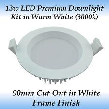 13 Watt White Premium Dimmable LED Downlight Kit in Warm White Light