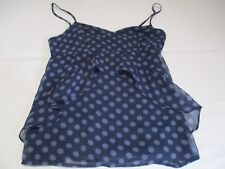 AMERICAN EAGLE OUTFITTERS NAVY BLUE & PURPLE SPOT DOT CAMISOLE SUN TOP UK 8 - 10