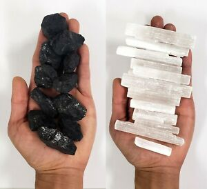 Black Tourmaline & Selenite Sticks Bulk - Combo Bulk Crystals - Natural Stones