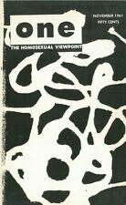 One Vol.9 No.11 November 1961 The Homosexual Viewpoint, Very Rare.
