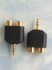 TWO 3.5mm Audio Headphones Jack to 2 RCA Splitter Adapter - Buy more and Save