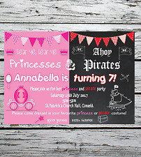 x10 Personalised Birthday Party Invitations Princess and Pirate Fancy Dress