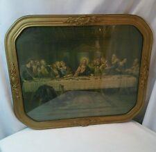 Vtg Jesus Last Supper Religious Christian Lithograph Print gold ART DECO FRAME