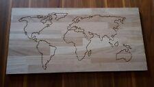 Wandbild Weltkarte 60x30cm Karte Eiche Leimholzplatte CNC gefräst