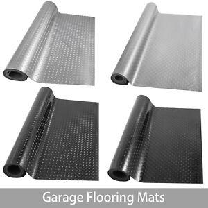Garage Flooring Mat Roll Trailer Floor Covering Flooring Raised Mat Black Silver