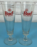 SET OF 2 Budweiser Bud King of Beers 16 oz Footed Pilsner Glass Vintage RARE