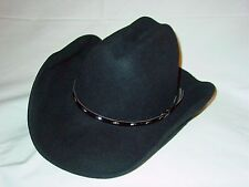 Mens Womens Rodeo King Black Felt Cowboy Western Hat 6 3/4 6 7/8 Small U.S.A.