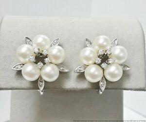 Vintage 1950s 14K White Gold Fine Diamond Cultured Pearl Omega Back Earrings