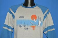 vintage 80s NASSAU BAHAMAS SUNSET SAILBOAT SEAGULL GRAY SOFT t-shirt MEDIUM M