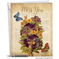 J6477AMYG Jumbo Miss You Card: Fluttering Words With Envelope (Extra Large Ve...