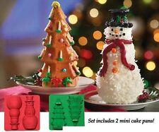 Christmas In July Cake Pans Baking Pan Molds Xmas Tree Snowman Bakeware Gift Set
