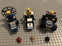 LEGO Minifigure Lot 7 with 3 Police ATV Boat Vehicle City Gear Great Shape!